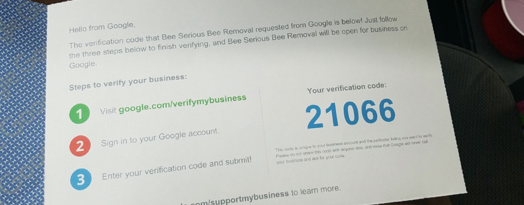 Verify your Google My Business Listing