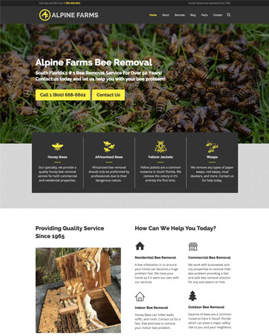 alpine farms bee removal website design